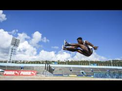 file Ryan Brown of the GC Foster College of Physical Education and Sport places third in the Men's Long Jump final with a distance of 6.89m in the NCB Intercollegiate Track and Field Championships at the National Stadium on Saturday, April 7, 2018.
