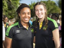 National senior women's football team goalkeepers Nicole McClure (left) and Sydney Schneider.