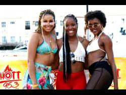 It's triple the hotness with (from left) Taneesha Greaves, Kyia Giles and Wendy Storey, as they kept their outfits summery and sexy.