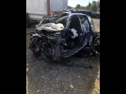 This photo, released by the Ontario Provincial Police, shows the smashed- up vehicle that Louie Rankin was driving when it collided with a transport truck near Shelburne, Ontario.