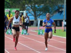 World 100m champion Shelly-Ann Fraser-Pryce (right) wins the women's 60 metres ahead of Natasha Morrison at the Milo Western Relays held at GC Foster College in Spanish Town last Saturday.