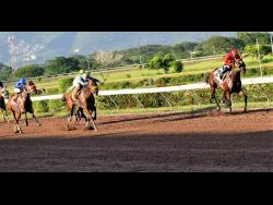 Robert Halledeen rides Patriarch (right) to victory in the 10th race at Caymanas Park, St Catherine, on Saturday, August 8.