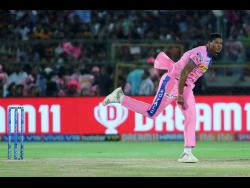 Rajasthan Royals player Oshane Thomas bowls during the VIVO IPL T20 cricket match against Sunrisers Hyderabad in Jaipur, India, in April 2019.