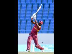 West Indies batsman Darren Bravo plays a shot in his knock of 102 yesterday.