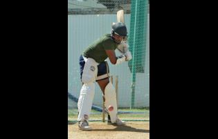 Ian Allen New Jamaica Scorpions batsman Akim Fraser going through batting practice in the nets at Sabina Park yesterday, ahead of today's Cricket West Indies Professional Cricket League Regional 4-Day game against the Guyana Jaguars.