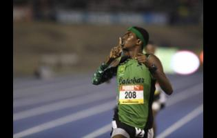 Kevroy Venson of Calabar looks to the KC fans in the stands as he silences all doubts by winning the Class Two boys 1500m at the 2018 ISSA/GraceKennedy Boys and Girls' Athletics Championships.