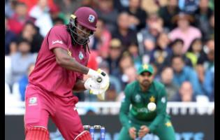 West Indies' Chris Gayle plays a shot against Pakistan during a Cricket World Cup match at Trent Bridge cricket ground in Nottingham, England, on Friday, May 31.