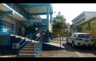 A police unit responding to the incident at Cornwall College in Montego Bay.