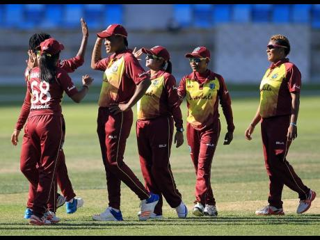Windies Women celebrate a 146-run victory over Pakistan in the first match of their one- day international series in Dubai, United Arab Emirates, on Thursday, February 7, 2019.