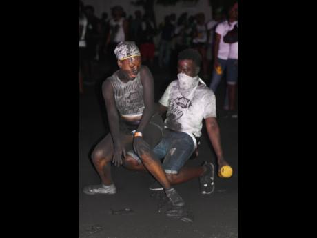 The sounds of Kes and Nailah's Work Out was the soundtrack for these two ASH J'ouvert patrons.