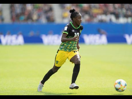 Jody Brown dribbles the ball in Jamaica's opening game against Brazil at the FIFA Women's World Cup on Sunday.