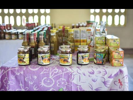 A variety of products, including tamarind jam, teas, cakes and pudding mixes, on display at the St Catherine Adult Correctional Centre 4-H Club Expo.