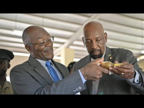 Superintendent Herbert McFarlane in the Department of Correctional Services (left) and State Minister for the Ministry of National Security, Rudyard Spencer examine one of the products manufactured by the St. Catherine Adult Correctional Centre 4-H Club.