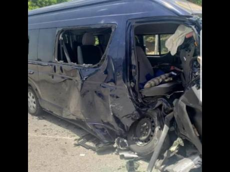 The Toyota Hiace minibus that was involved in yesterday's deadly crash in Hanover.
