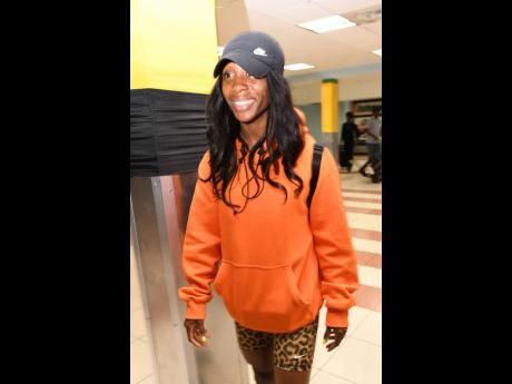 2019 World Championships 100m gold medallist Shelly-Ann Fraser-Pryce at the Norman Manley International Airport shortly after her arrival from  Doha, Qatar.