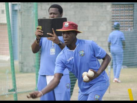 Former Windies men's team coach Vasbert Drakes during a training session with the team at the Beausejour Cricket Ground, St Lucia, on Friday, October 16, 2015.