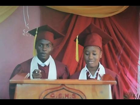 Jevaughn Malcolm and Jodiann Morris, valedictorians of the Godfrey Stewart High School's Class of 2020, present their joint address via Zoom.