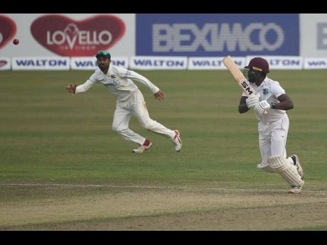 Windies middle-order batsman Nkrumah Bonner  plays a shot in his opening innings of the second Test  match against hosts Bangladesh in Dhaka on February 11.